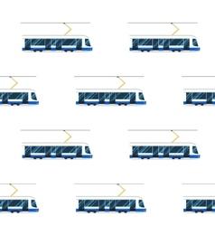 Seamless pattern of blue modern tram vector