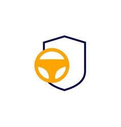 Secure driving shield steering wheel icon logo vector