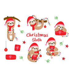 set isolated christmas sloths with gifts vector image