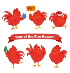 Set of cartoon chinese zodiac fire rooster vector image