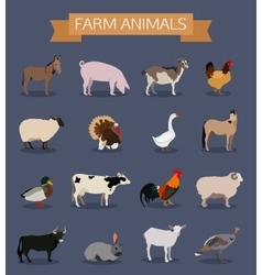 Set of farm animals icons vector