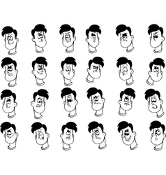 Set of male cartoon faces with emotional vector image