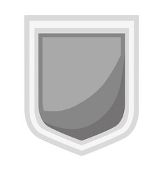 shield icon silhouette in gray color and shading vector image
