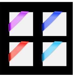 silk corner ribbons multicolor set - design vector image