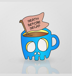 Skeleton mug decaf coffee drink vector