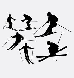 Skiing sport silhouette vector