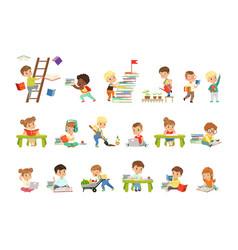 smart little kids reading books set cute vector image