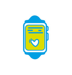 Smartwatch technology object with heartbeat rhythm vector