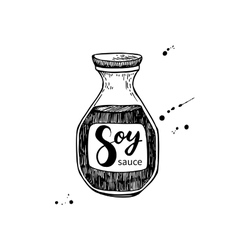 Soy sauce bottle Isolated food drawing vector