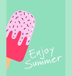 summer card with cute cartoon ice cream vector image