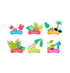 summer travel logo template set beach party vector image