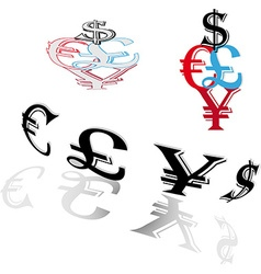 Symbols of world currencies vector image