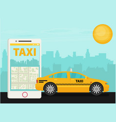 taxi service smartphone city skyscrapers flat vector image