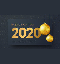 template black banner happy new year 2020 with vector image