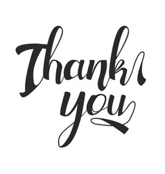 thank you black hand drawn lettering vector image