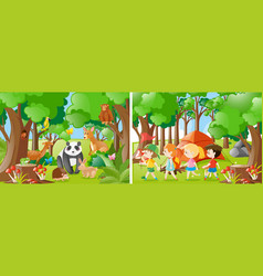 two forest scenes with kids and wild animals vector image