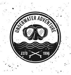 Underwater adventure and diving emblem vector