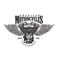 Vintage monochrome motorcycle emblem vector