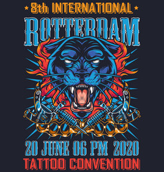 Vintage tattoo fest in rotterdam poster vector