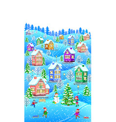 winter composition vertical vector image vector image