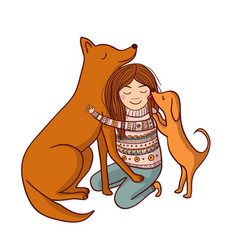 with girl and dogs vector image