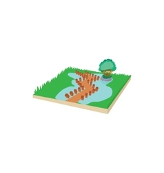 Wooden bridge on a mountain lake icon vector