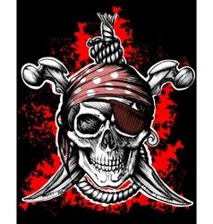 black jolly roger skull vector image vector image