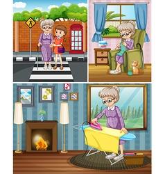 Grandmother doing different activities vector image vector image
