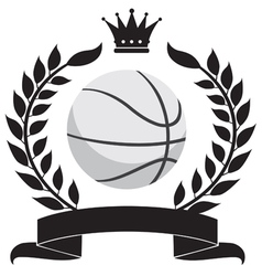 logo with a wreath and a basketball ball vector image vector image
