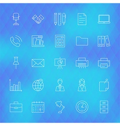 Business Office Line Icons Set over Polygonal vector image