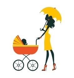 Fashion mom with baby in pram under umbrella vector image vector image