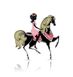 horse girl vector image vector image