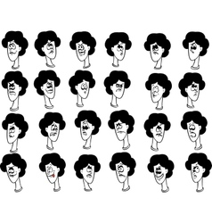 Set of cartoon female faces with emotional vector image vector image