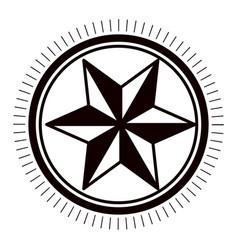 Star inside seal stamp design vector