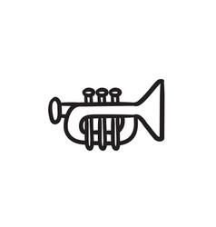 trumpet sketch icon vector image