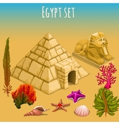 Underwater Egypt world and pyramid vector image vector image