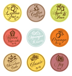 Bakery shop colorful tags collection vector image vector image