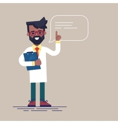 Black male doctor with beard giving advice vector image vector image