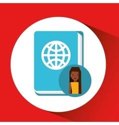 Cartoon woman travel concept with passport id vector