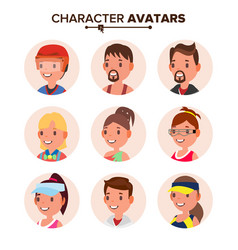 character people avatar set face default vector image