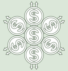coins sacred pattern vector image vector image