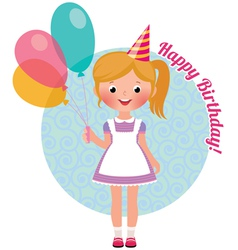 Girl with balloons birthday vector image