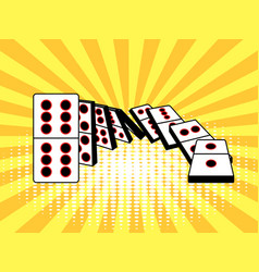 falling dominoes comic book style vector image vector image