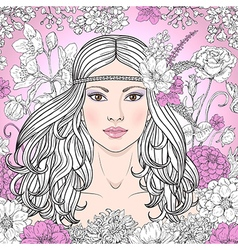 girl hippie outline color vector image
