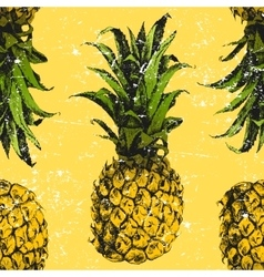Hand drawn pineapple seamless vector image vector image