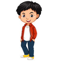 Little boy in red shirt and jeans vector