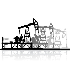 Oil pumps silhouette isolated on white background vector