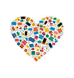 social media network love icon heart shape concept vector image vector image