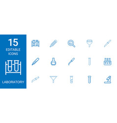 15 laboratory icons vector