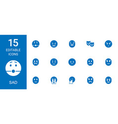 15 sad icons vector
